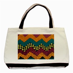 Painted Chevron Pattern Wave Rainbow Color Basic Tote Bag by Alisyart