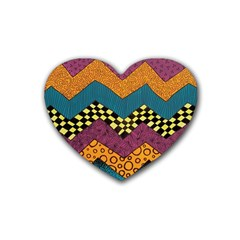 Painted Chevron Pattern Wave Rainbow Color Rubber Coaster (heart)  by Alisyart