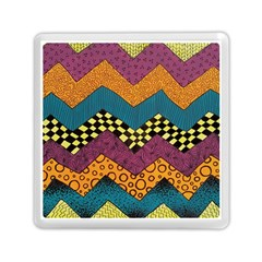 Painted Chevron Pattern Wave Rainbow Color Memory Card Reader (square)  by Alisyart