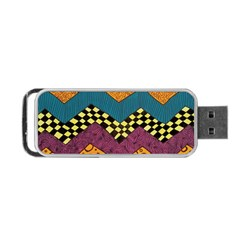 Painted Chevron Pattern Wave Rainbow Color Portable Usb Flash (one Side) by Alisyart