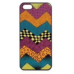 Painted Chevron Pattern Wave Rainbow Color Apple Iphone 5 Seamless Case (black) by Alisyart