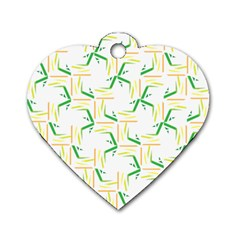 Patterns Boomerang Line Chevron Green Orange Yellow Dog Tag Heart (two Sides) by Alisyart