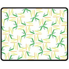 Patterns Boomerang Line Chevron Green Orange Yellow Double Sided Fleece Blanket (medium)  by Alisyart