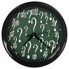 Question Mark White Green Think Wall Clocks (black) by Alisyart