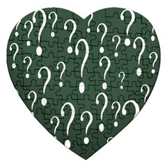 Question Mark White Green Think Jigsaw Puzzle (heart) by Alisyart