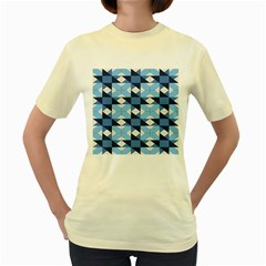 Radiating Star Repeat Blue Women s Yellow T Shirt by Alisyart