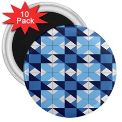 Radiating Star Repeat Blue 3  Magnets (10 Pack)  by Alisyart