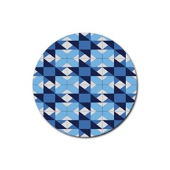 Radiating Star Repeat Blue Rubber Coaster (round)  by Alisyart