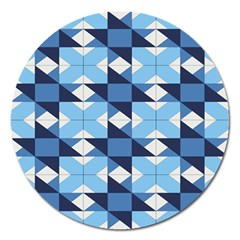 Radiating Star Repeat Blue Magnet 5  (round) by Alisyart