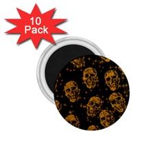 Sparkling Glitter Skulls Golden 1 75  Magnets (10 Pack)  by ImpressiveMoments