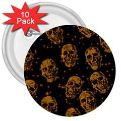 Sparkling Glitter Skulls Golden 3  Buttons (10 Pack)  by ImpressiveMoments