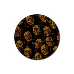 Sparkling Glitter Skulls Golden Rubber Round Coaster (4 Pack)  by ImpressiveMoments