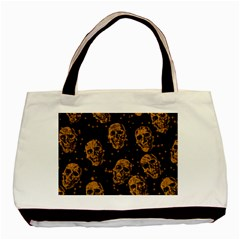 Sparkling Glitter Skulls Golden Basic Tote Bag (two Sides) by ImpressiveMoments