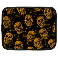 Sparkling Glitter Skulls Golden Netbook Case (large) by ImpressiveMoments