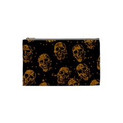 Sparkling Glitter Skulls Golden Cosmetic Bag (small)  by ImpressiveMoments