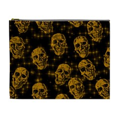 Sparkling Glitter Skulls Golden Cosmetic Bag (xl) by ImpressiveMoments