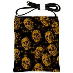 Sparkling Glitter Skulls Golden Shoulder Sling Bags by ImpressiveMoments