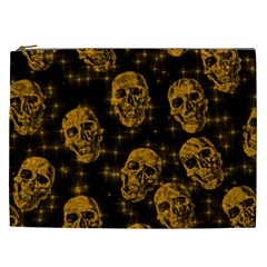 Sparkling Glitter Skulls Golden Cosmetic Bag (xxl)  by ImpressiveMoments