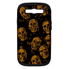 Sparkling Glitter Skulls Golden Samsung Galaxy S Iii Hardshell Case (pc+silicone) by ImpressiveMoments