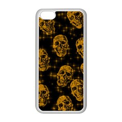 Sparkling Glitter Skulls Golden Apple Iphone 5c Seamless Case (white) by ImpressiveMoments