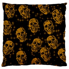 Sparkling Glitter Skulls Golden Large Flano Cushion Case (two Sides) by ImpressiveMoments