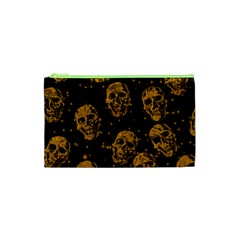 Sparkling Glitter Skulls Golden Cosmetic Bag (xs) by ImpressiveMoments