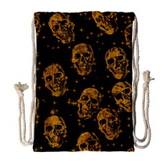 Sparkling Glitter Skulls Golden Drawstring Bag (large) by ImpressiveMoments
