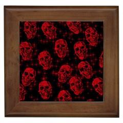 Sparkling Glitter Skulls Red Framed Tiles by ImpressiveMoments