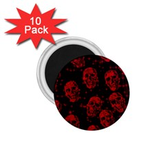 Sparkling Glitter Skulls Red 1 75  Magnets (10 Pack)  by ImpressiveMoments