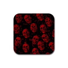 Sparkling Glitter Skulls Red Rubber Square Coaster (4 Pack)  by ImpressiveMoments