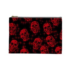 Sparkling Glitter Skulls Red Cosmetic Bag (large)  by ImpressiveMoments
