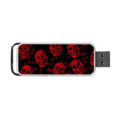Sparkling Glitter Skulls Red Portable Usb Flash (one Side) by ImpressiveMoments