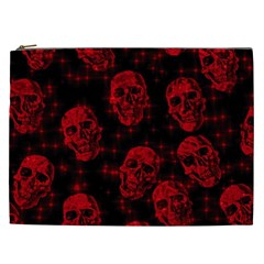 Sparkling Glitter Skulls Red Cosmetic Bag (xxl)  by ImpressiveMoments