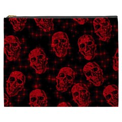 Sparkling Glitter Skulls Red Cosmetic Bag (xxxl)  by ImpressiveMoments