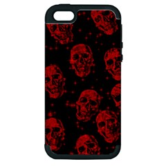 Sparkling Glitter Skulls Red Apple Iphone 5 Hardshell Case (pc+silicone) by ImpressiveMoments