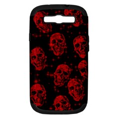 Sparkling Glitter Skulls Red Samsung Galaxy S Iii Hardshell Case (pc+silicone)