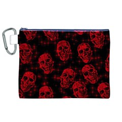 Sparkling Glitter Skulls Red Canvas Cosmetic Bag (xl) by ImpressiveMoments