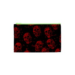 Sparkling Glitter Skulls Red Cosmetic Bag (xs) by ImpressiveMoments