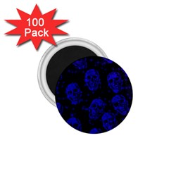 Sparkling Glitter Skulls Blue 1 75  Magnets (100 Pack)  by ImpressiveMoments