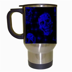 Sparkling Glitter Skulls Blue Travel Mugs (white) by ImpressiveMoments
