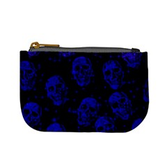 Sparkling Glitter Skulls Blue Mini Coin Purses by ImpressiveMoments