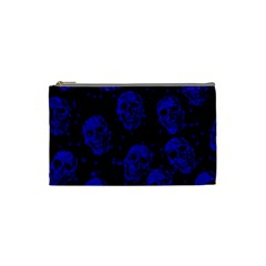 Sparkling Glitter Skulls Blue Cosmetic Bag (small)  by ImpressiveMoments