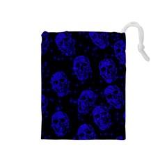 Sparkling Glitter Skulls Blue Drawstring Pouches (medium)  by ImpressiveMoments