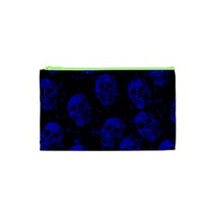 Sparkling Glitter Skulls Blue Cosmetic Bag (xs) by ImpressiveMoments