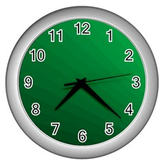 Green Beach Fractal Backdrop Background Wall Clocks (silver)  by Simbadda