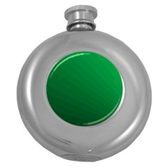 Green Beach Fractal Backdrop Background Round Hip Flask (5 Oz)