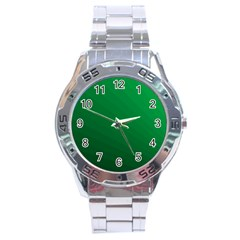 Green Beach Fractal Backdrop Background Stainless Steel Analogue Watch by Simbadda