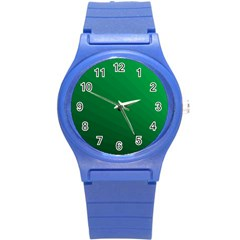 Green Beach Fractal Backdrop Background Round Plastic Sport Watch (s) by Simbadda