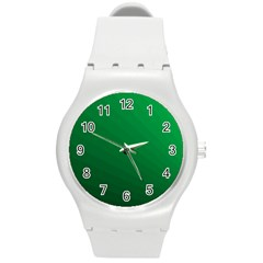 Green Beach Fractal Backdrop Background Round Plastic Sport Watch (m) by Simbadda