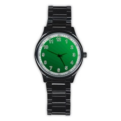 Green Beach Fractal Backdrop Background Stainless Steel Round Watch by Simbadda